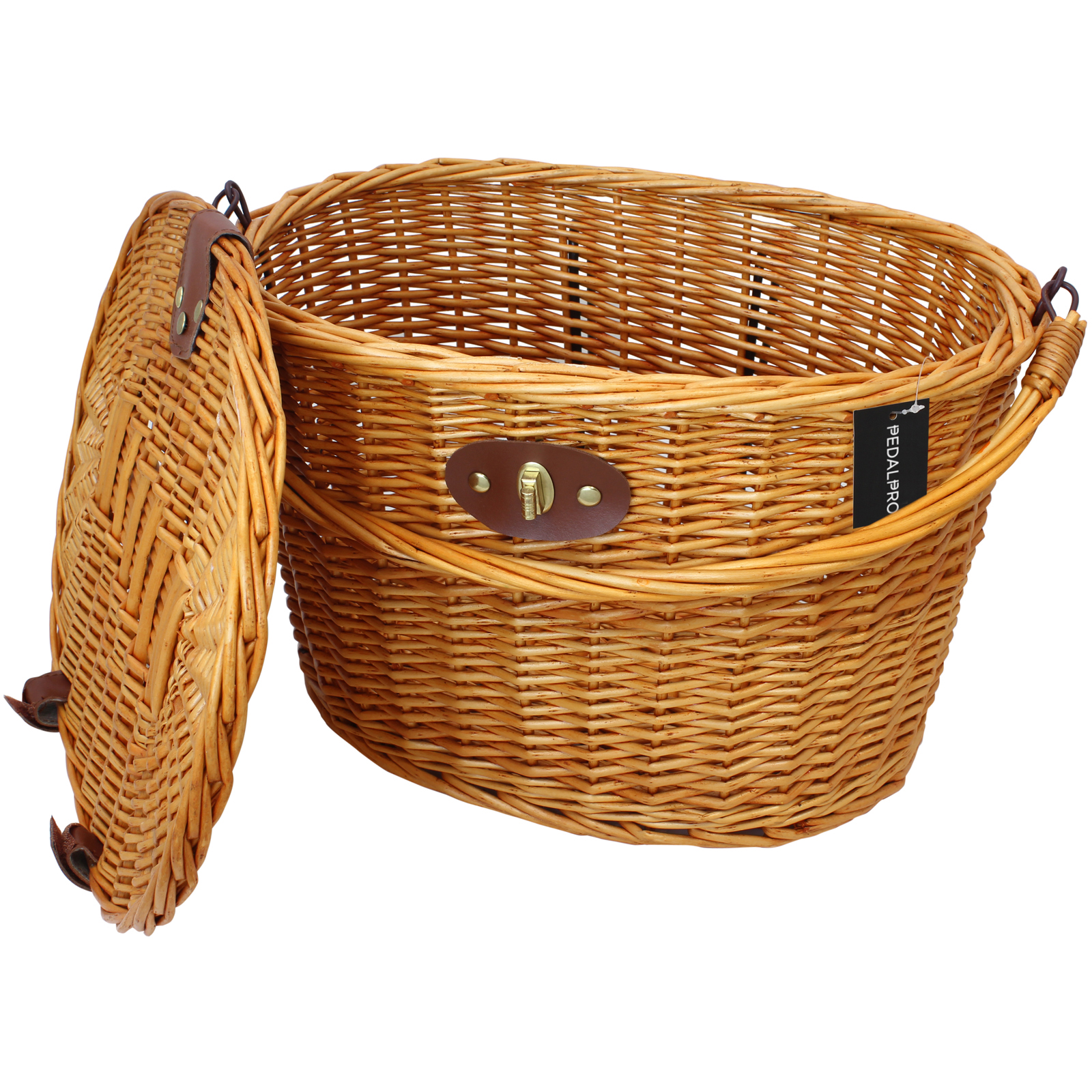 Wicker Bike Basket With Handle : Pedalpro classic wicker bicycle basket with lid handle