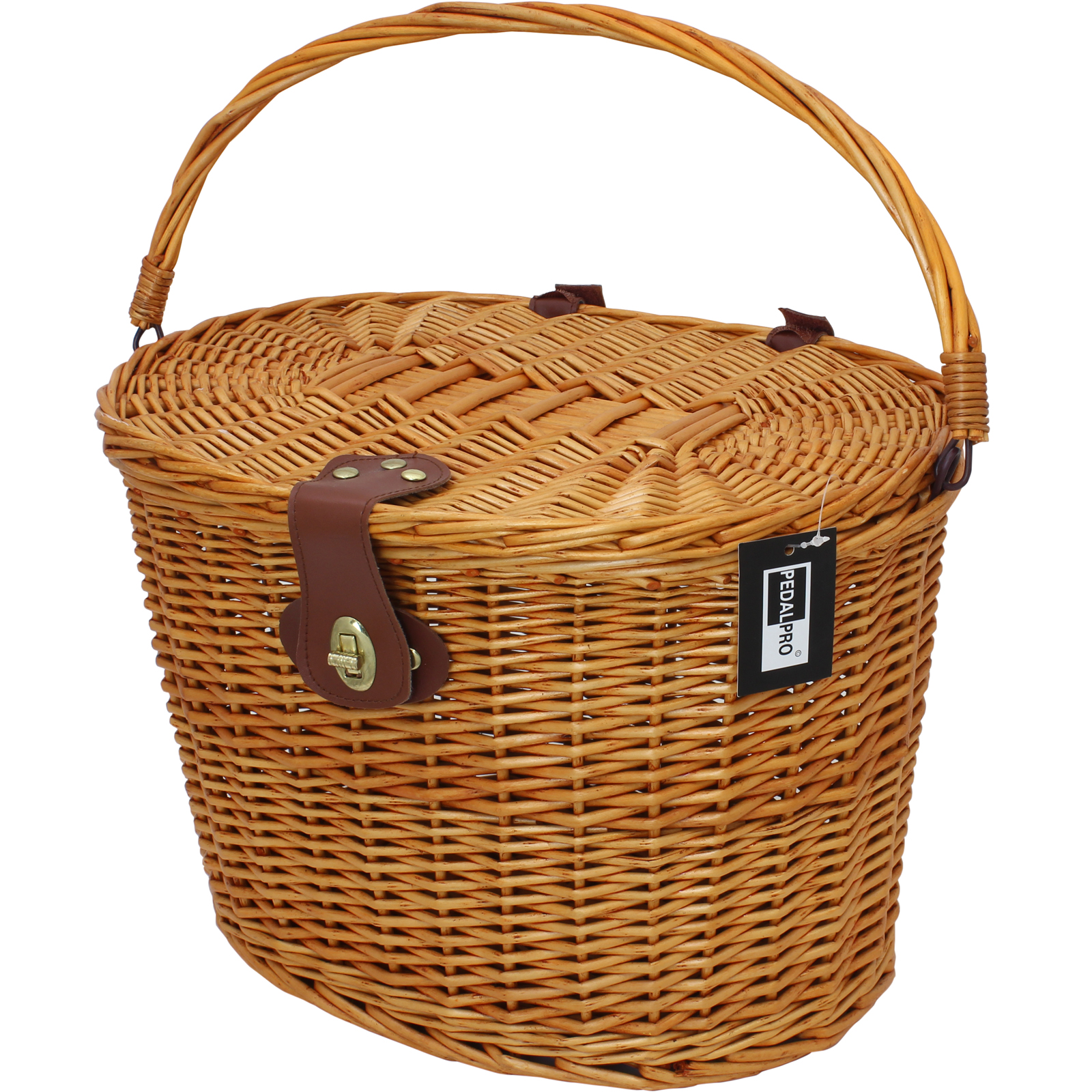 Wicker Bicycle Basket With Handle : Pedalpro classic wicker bicycle basket with lid handle