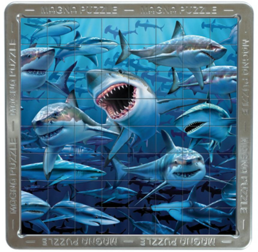 New Sharks Large 3D Magna Jigsaw Puzzle by Cheatwell Games 64 Pieces Enlarged Preview