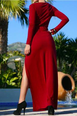Long Sleeve Sequin Dress on Joslyn Womens Long Sleeve Slit Thigh Maxi Dress