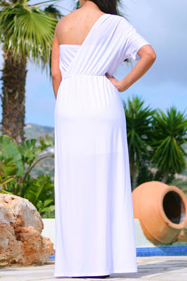 Shoulder Maxi Dress on Destini Womens Grecian One Shoulder Maxi Dress