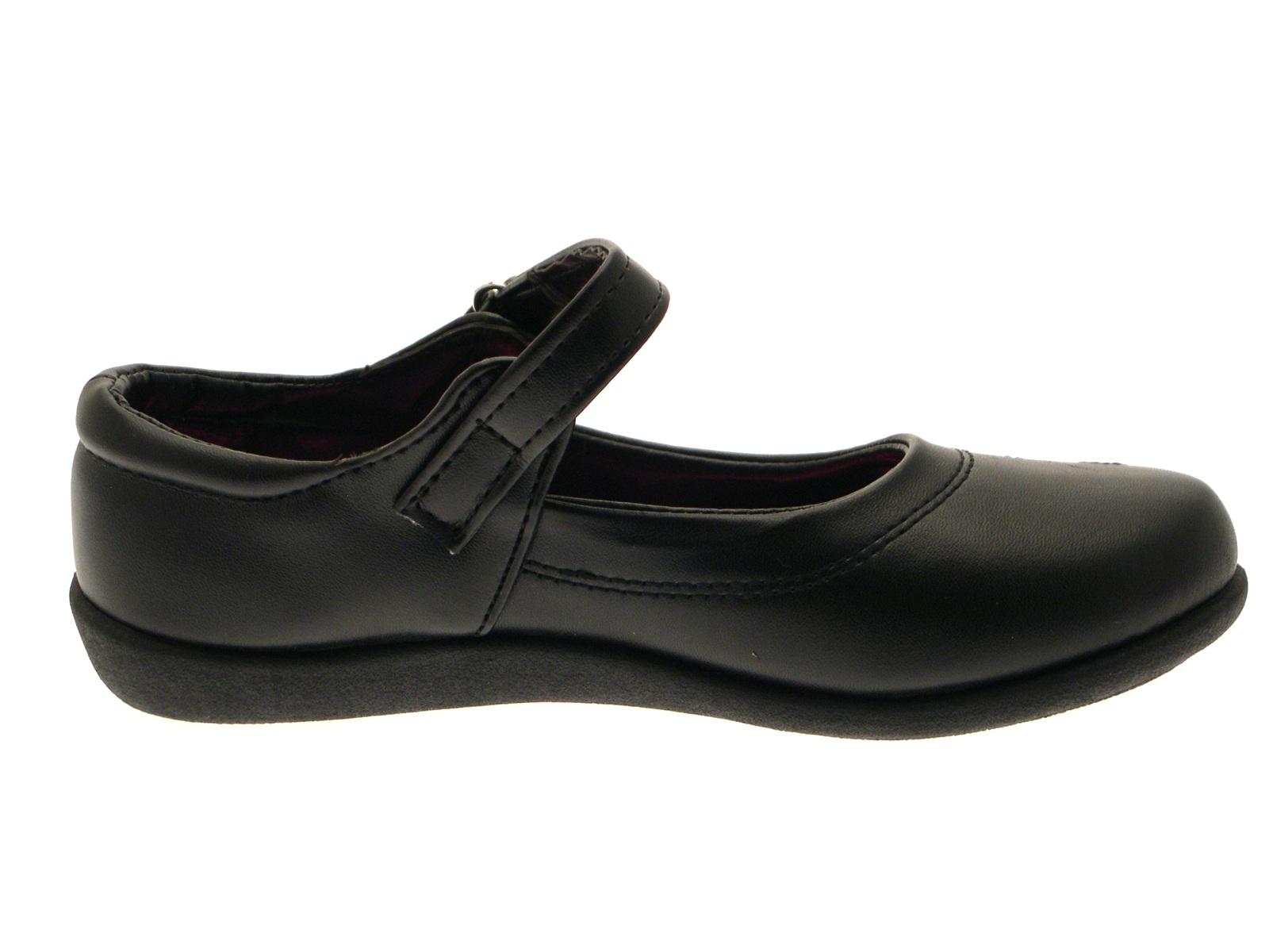 Kids Girls Flat Black School Shoes Faux Leather Mary Jane ...