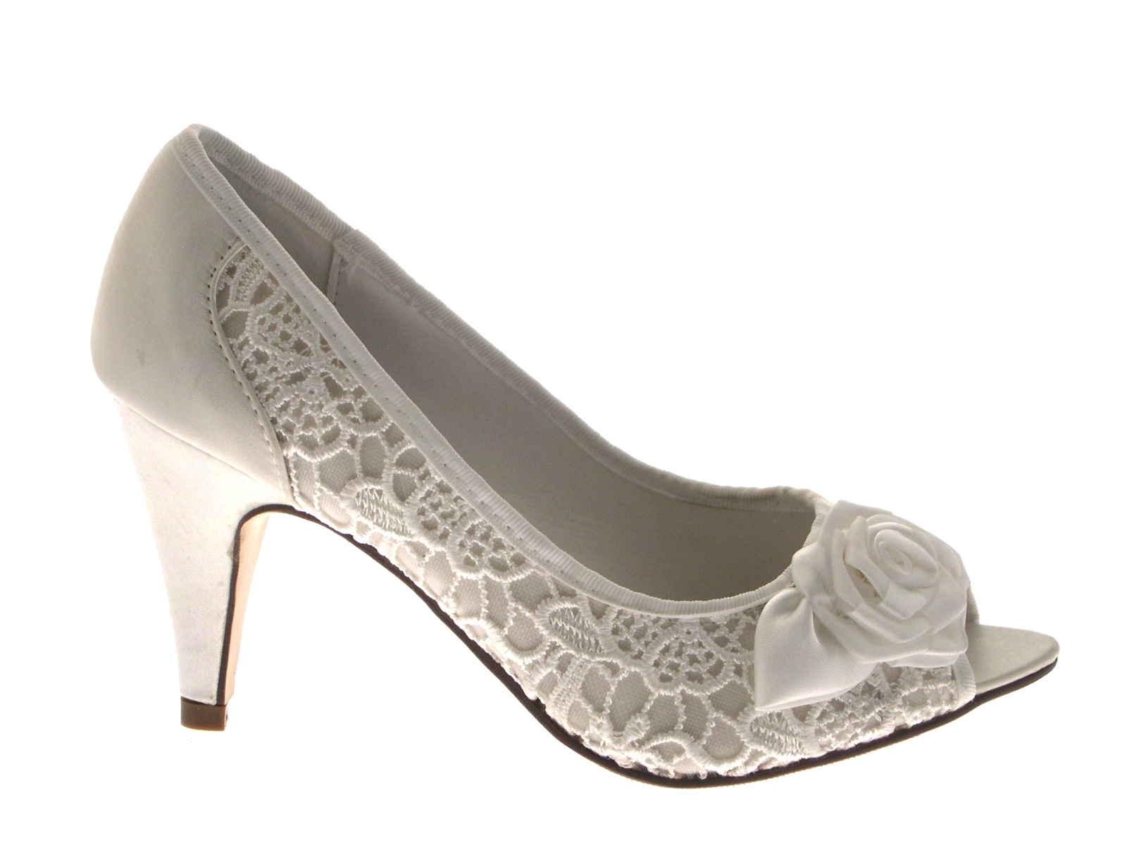 Womens High Heels Satin Lace Flower Bridal Wedding Peeptoe Shoes Sandal Size 3-8
