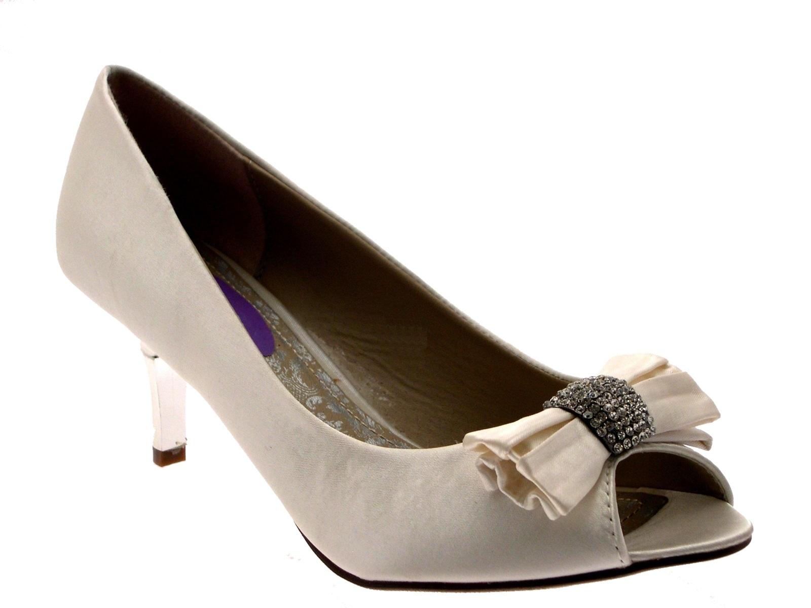 womens low heels satin diamante bow bridal wedding peeptoe
