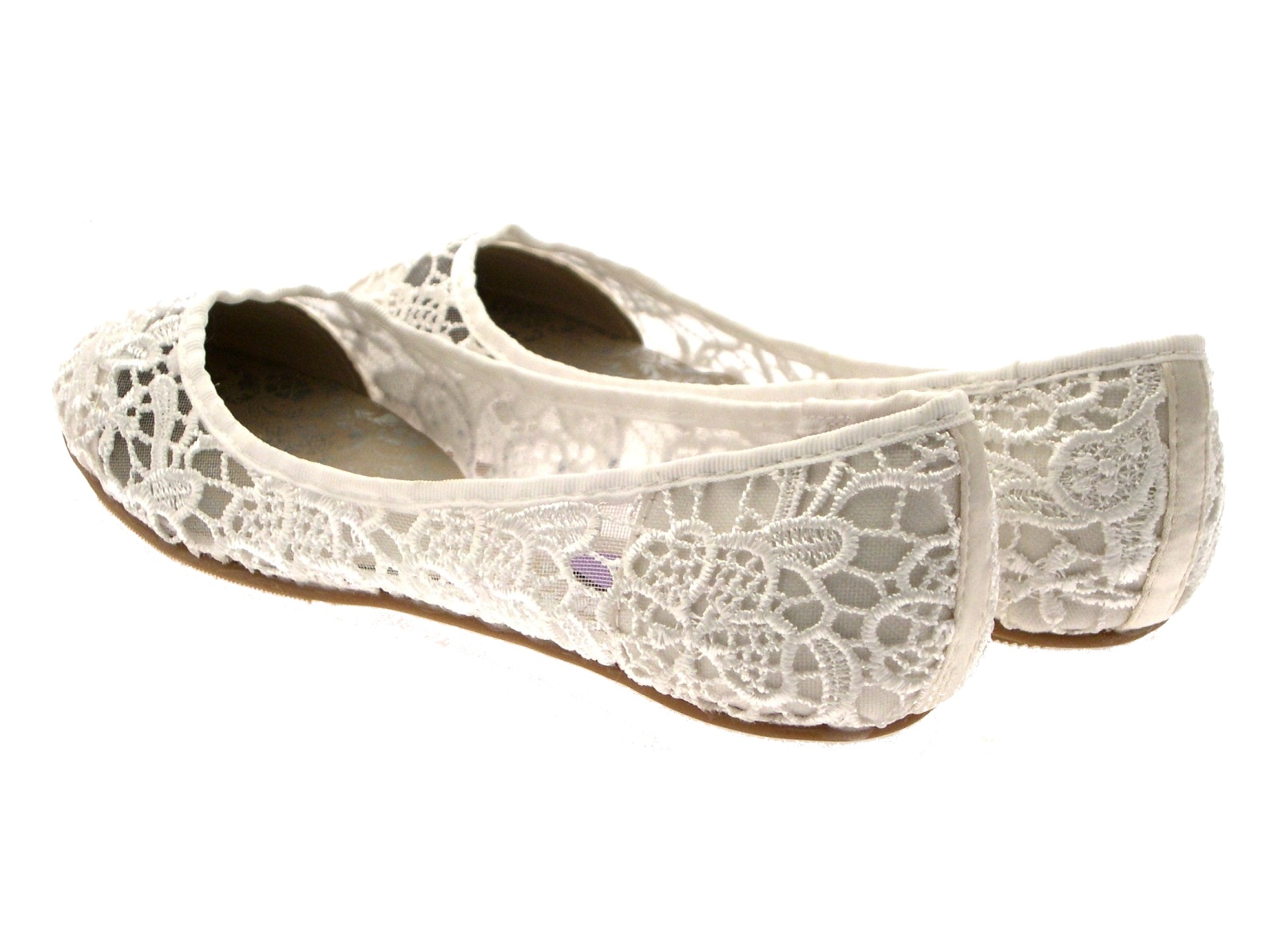 Womens Ivory Lace Ballet Pumps Flat Bridal Bridesmaid Shoes Ladies Size UK 3