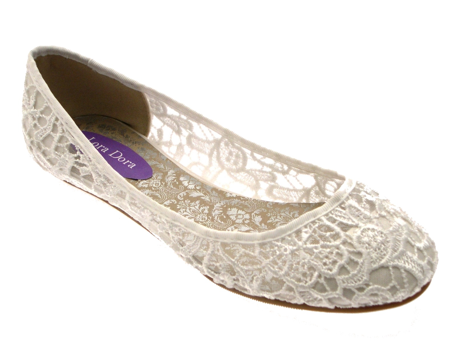 Womens Ivory Lace Ballet Pumps Flat Bridal Bridesmaid