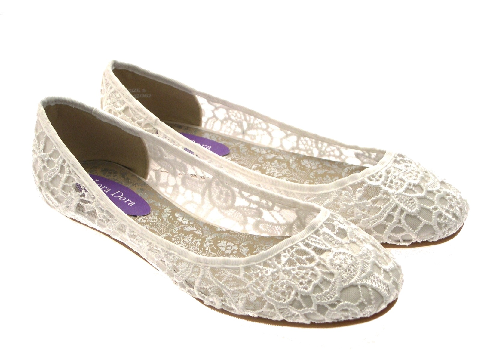 Womens-Ivory-Lace-Ballet-Pumps-Flat-Bridal-Bridesmaid-