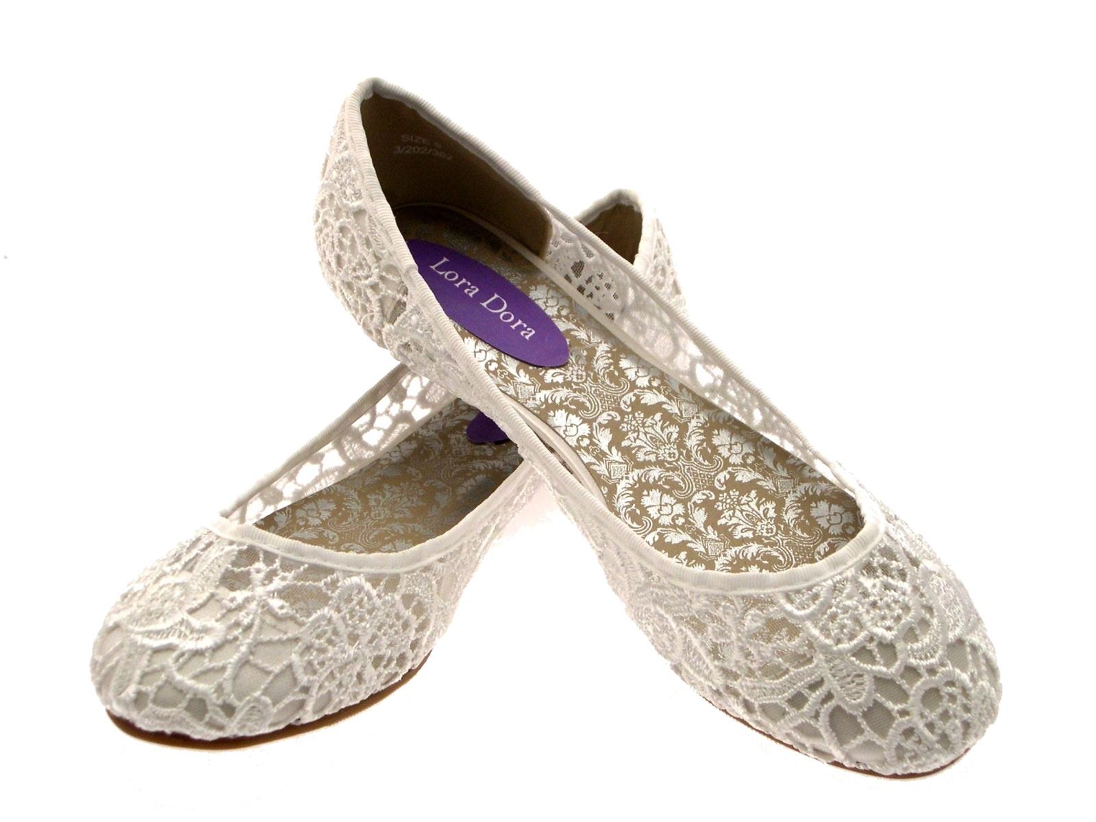 Womens Ivory Lace Ballet Pumps Flat Bridal Bridesmaid Shoes Ladies Size UK 3