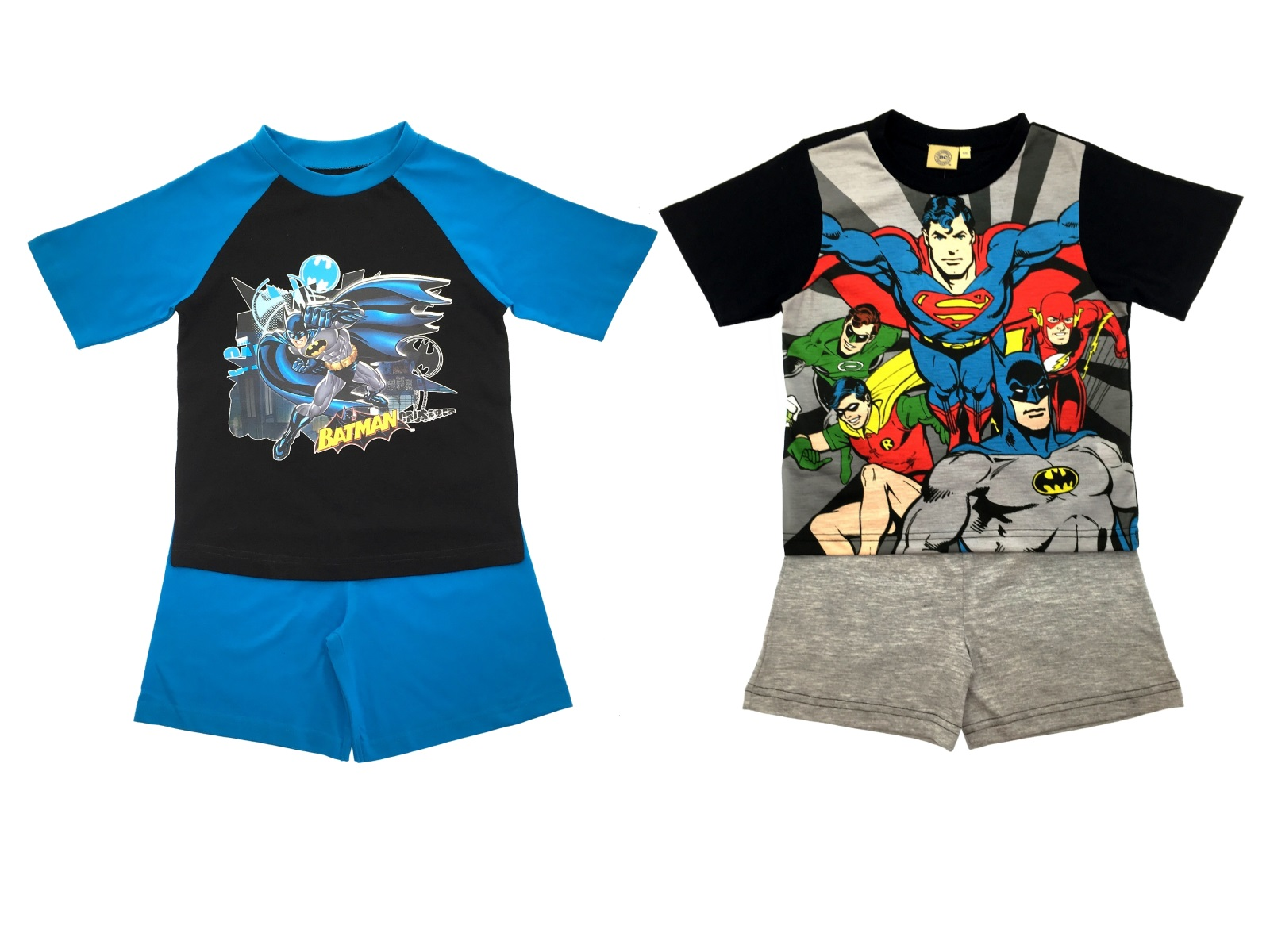 Boys DC Comics Superhero Superman Batman Pyjamas Short Pjs Kids 2 ...
