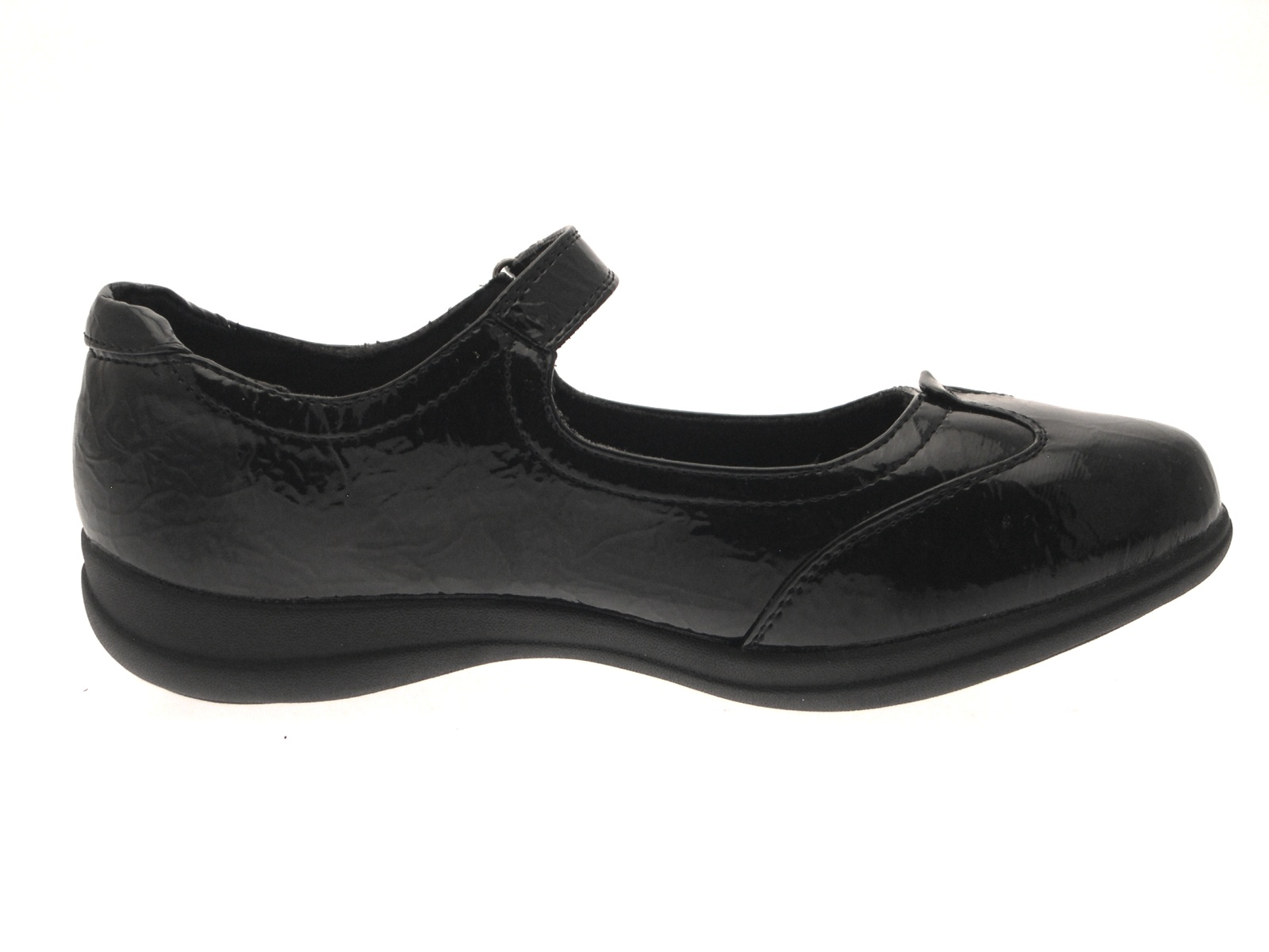 Womens Girls Black Mary Jane Flat Work School Ladies ...