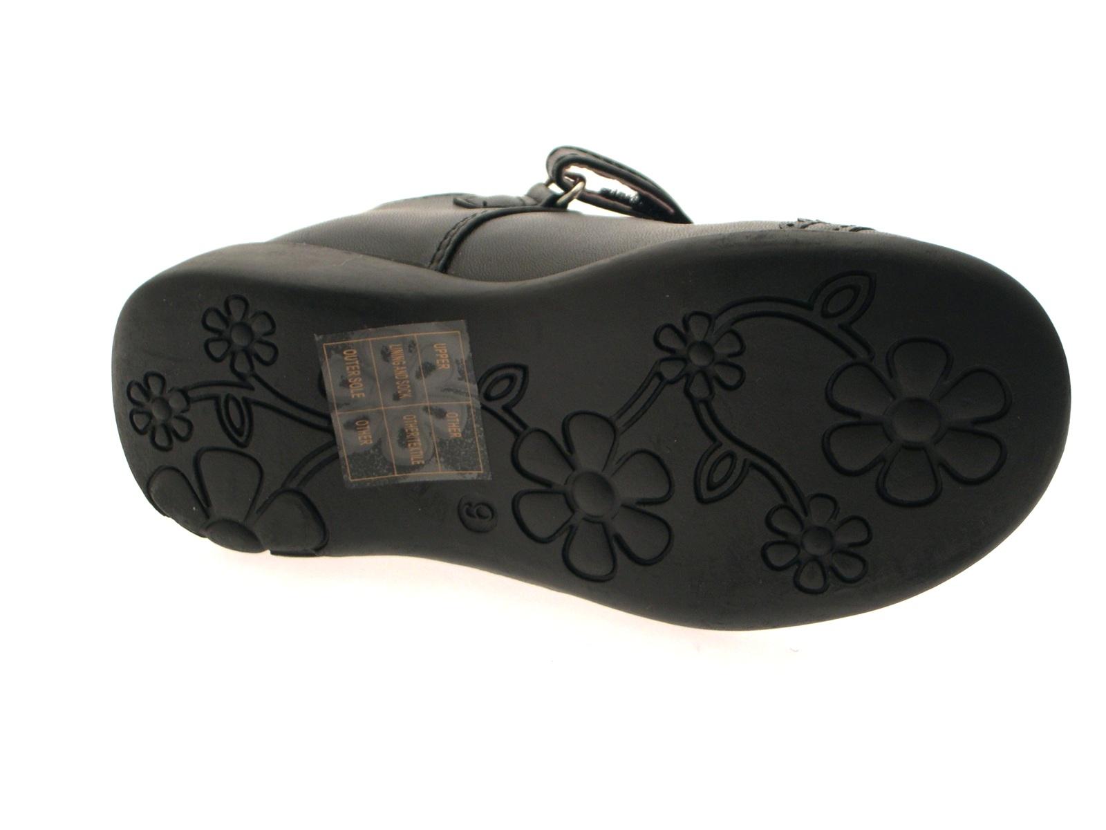 Charlatán Niñas Niños Negro Zapatos Escolares Tbar Luces talón imitación cuero tamaño 4-12