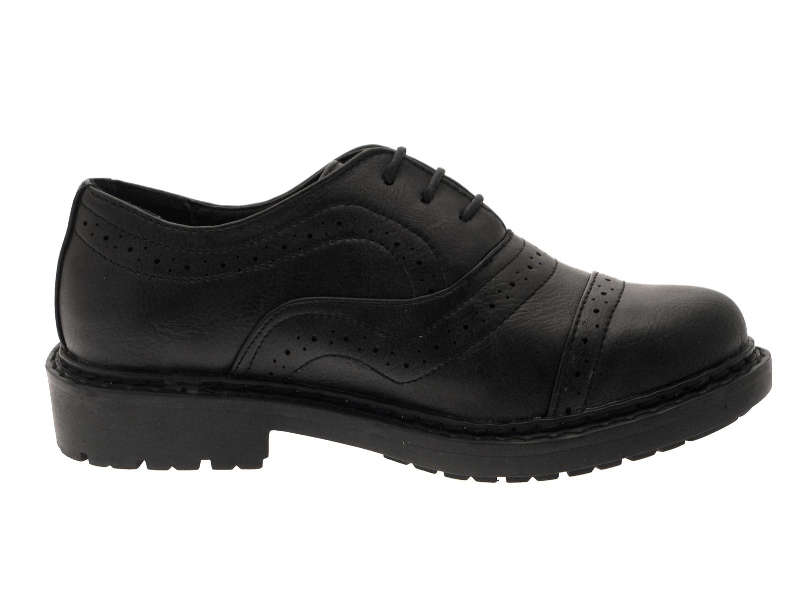 boys black lace up brogue faux leather school shoes