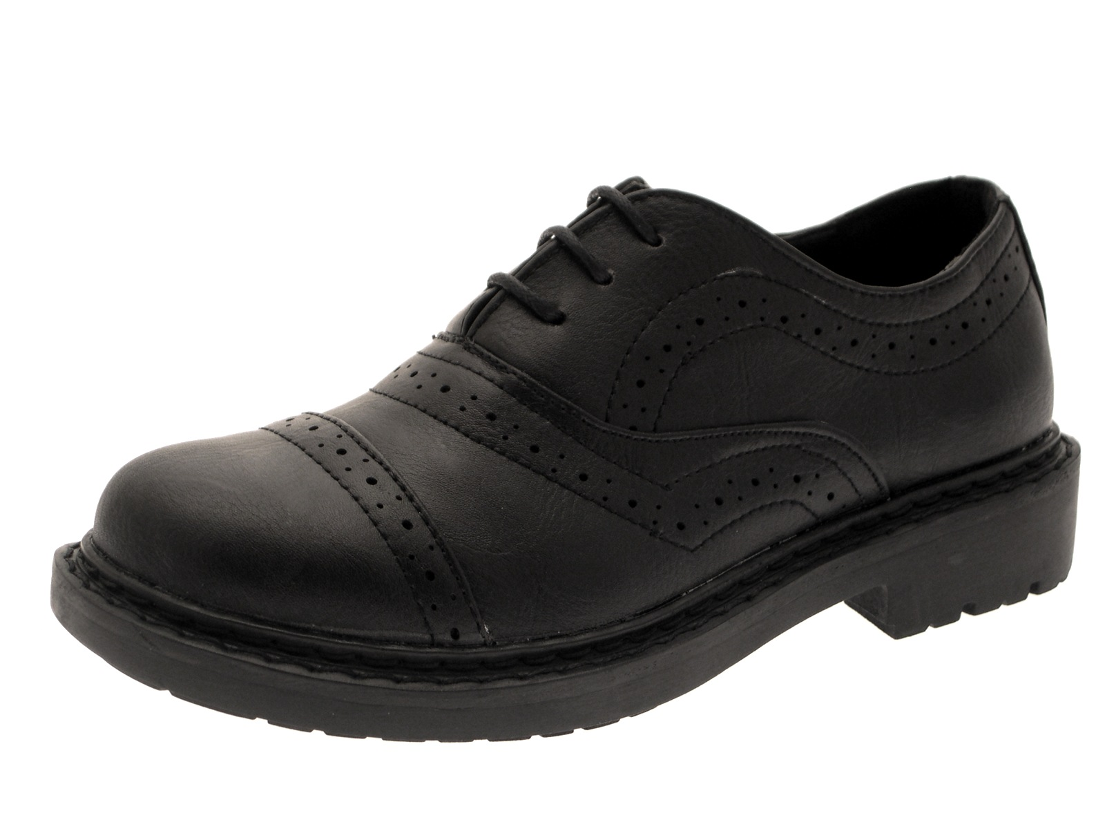 Kids Boys Black Lace Up Brogue Faux Leather School Shoes Formal Size UK 10 - 2