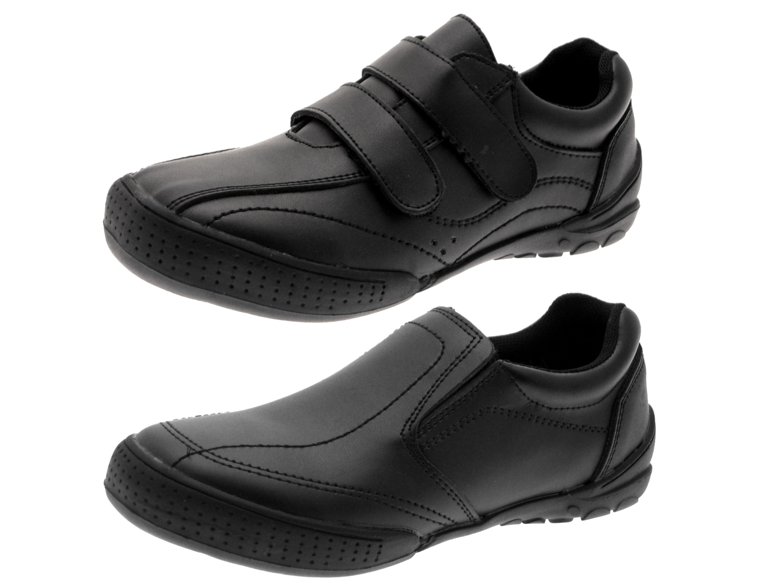 boys black leather school shoes flat slip on formal