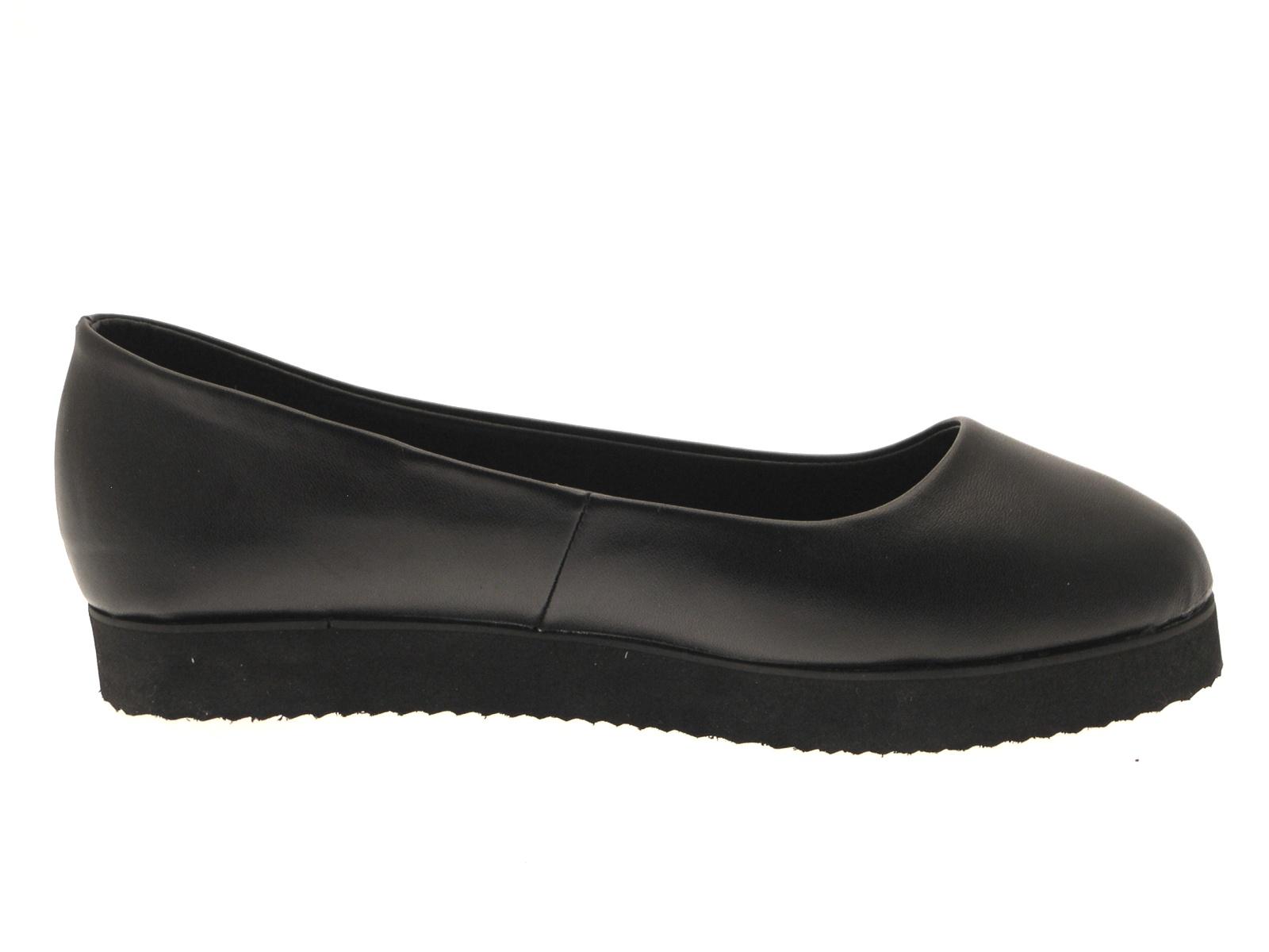 black plain slip on faux leather school womens