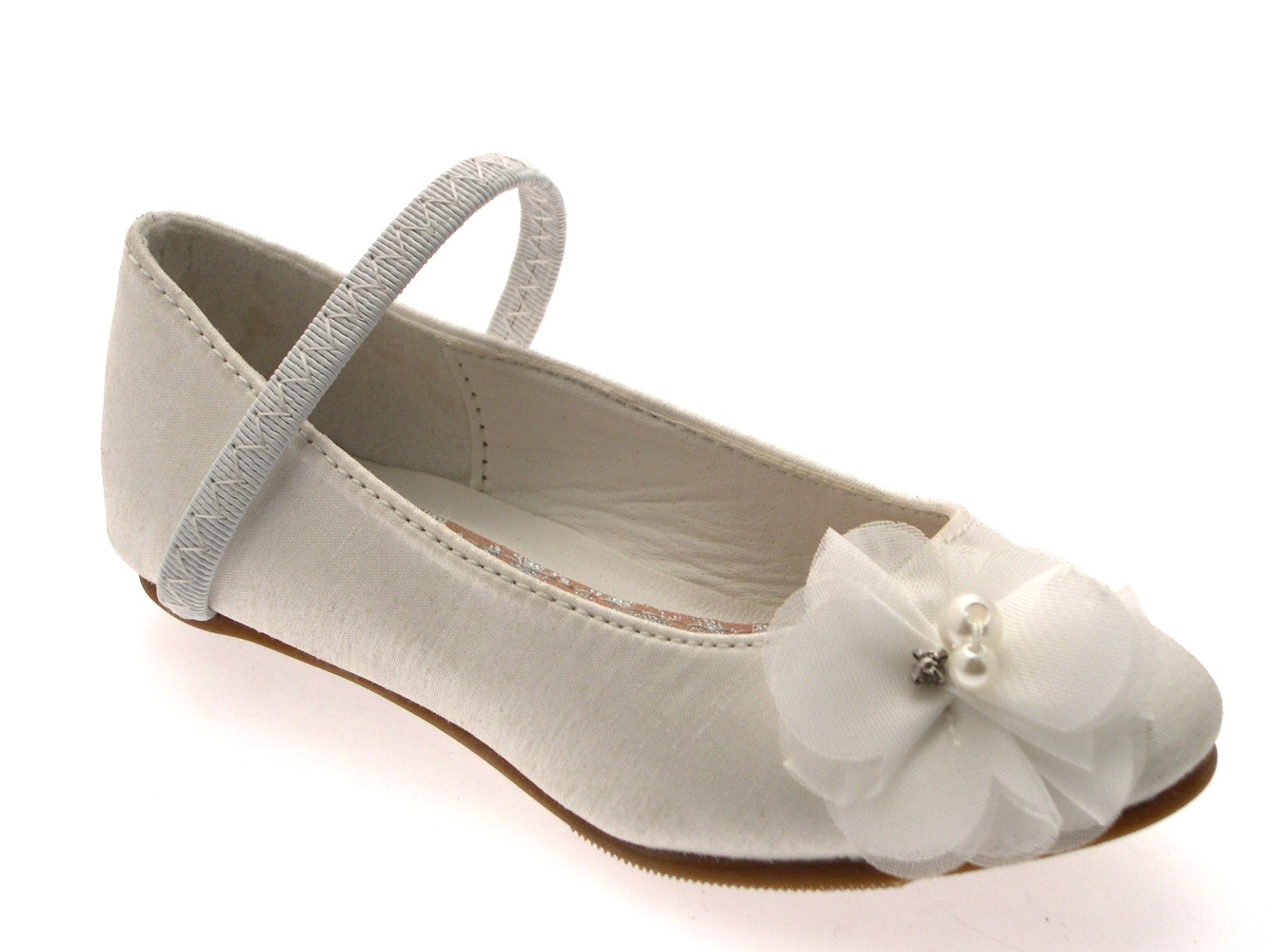 GIRLS KIDS SATIN FLOWER WEDDING BRIDAL BRIDESMAID IVORY CREAM SHOES