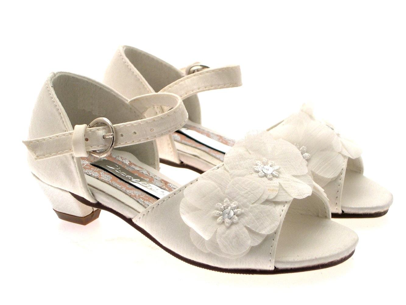 GIRLS KIDS SATIN FLOWER WEDDING BRIDAL BRIDESMAID IVORY