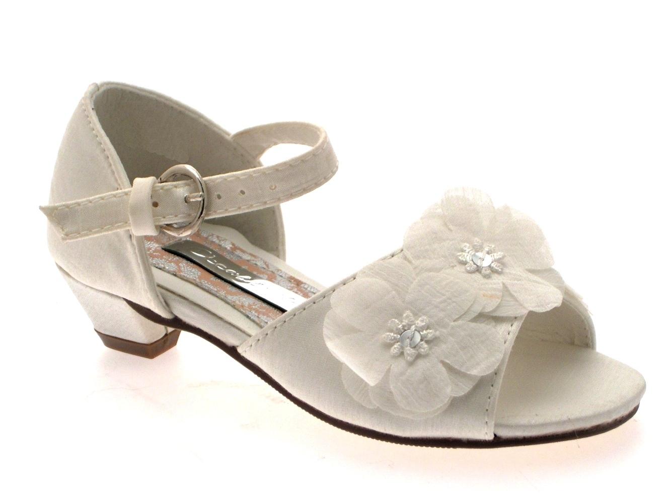 GIRLS KIDS SATIN FLOWER WEDDING BRIDAL BRIDESMAID IVORY CREAM SHOES SANDALS 6 2
