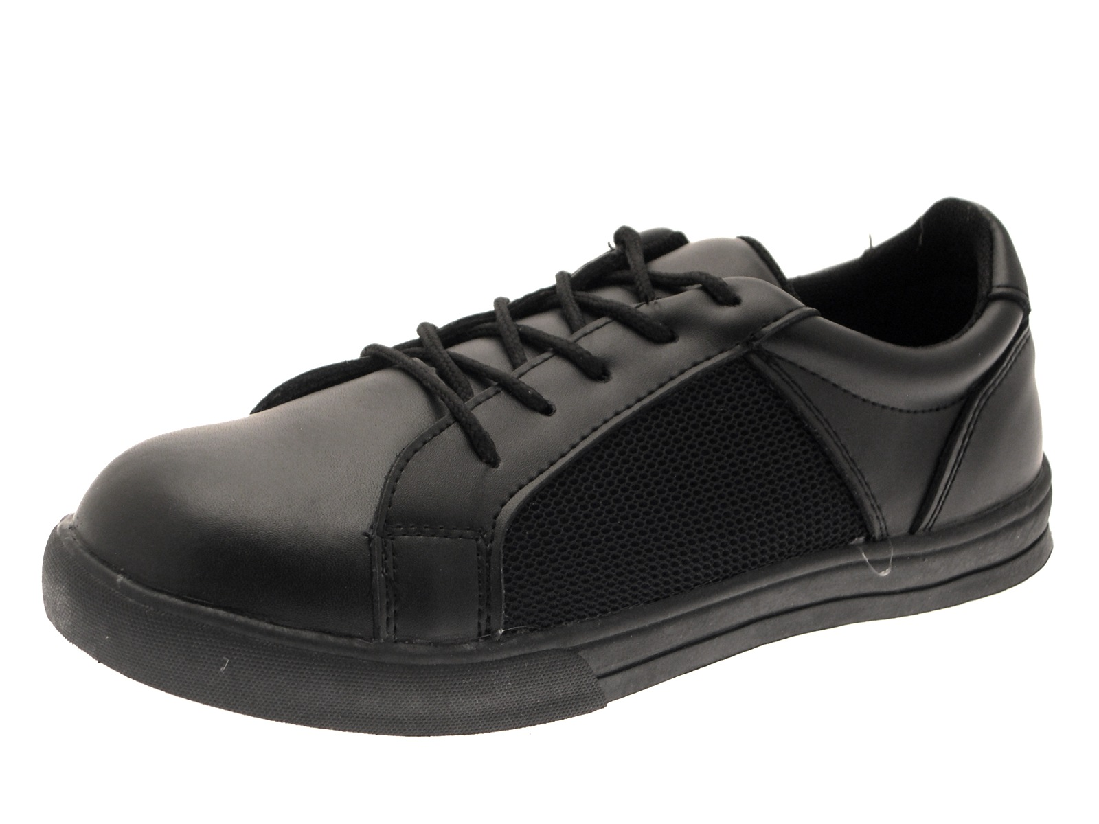 black leather school shoes boys sports trainers lace