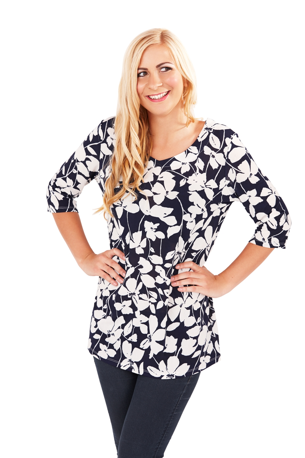 Womens Paisley Tunic Top Navy Blue Summer Blouse Ladies Clothing ...