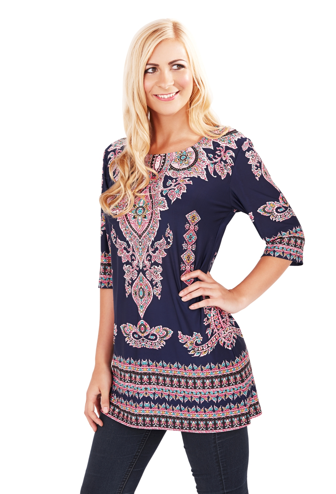 Womens paisley tunic top navy blue summer blouse ladies for Girls shirts size 8