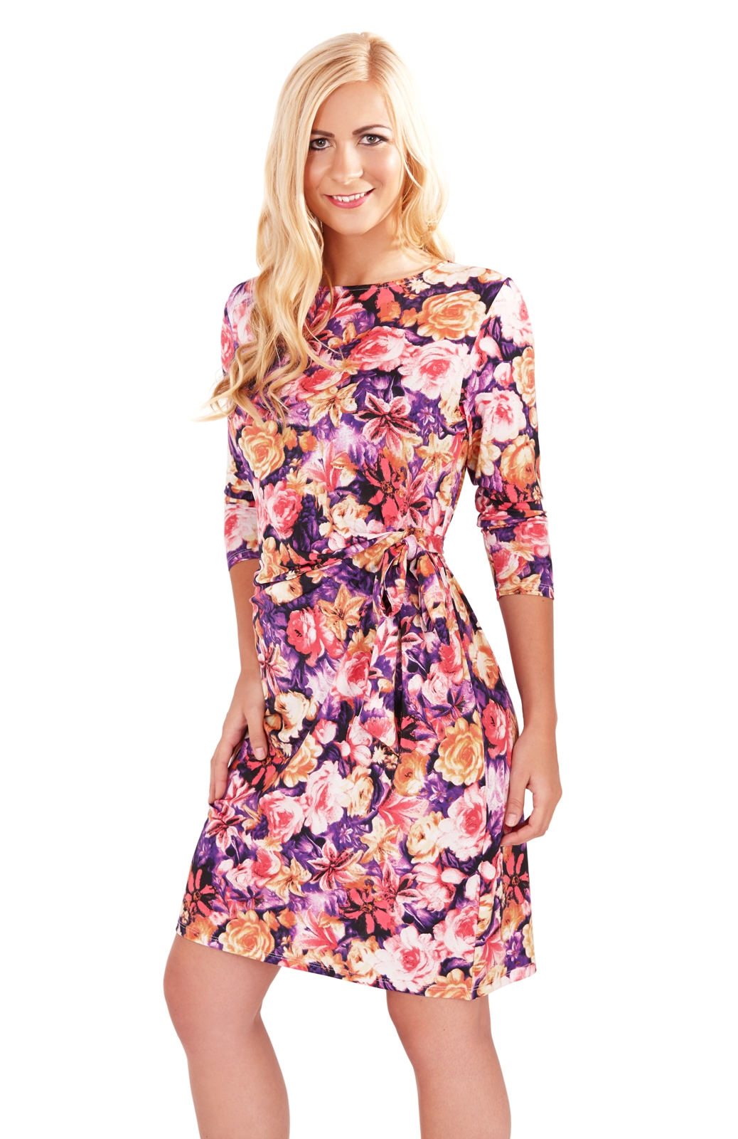 Womens Floral Summer Dress With V Neck Long Sleeve Stretch