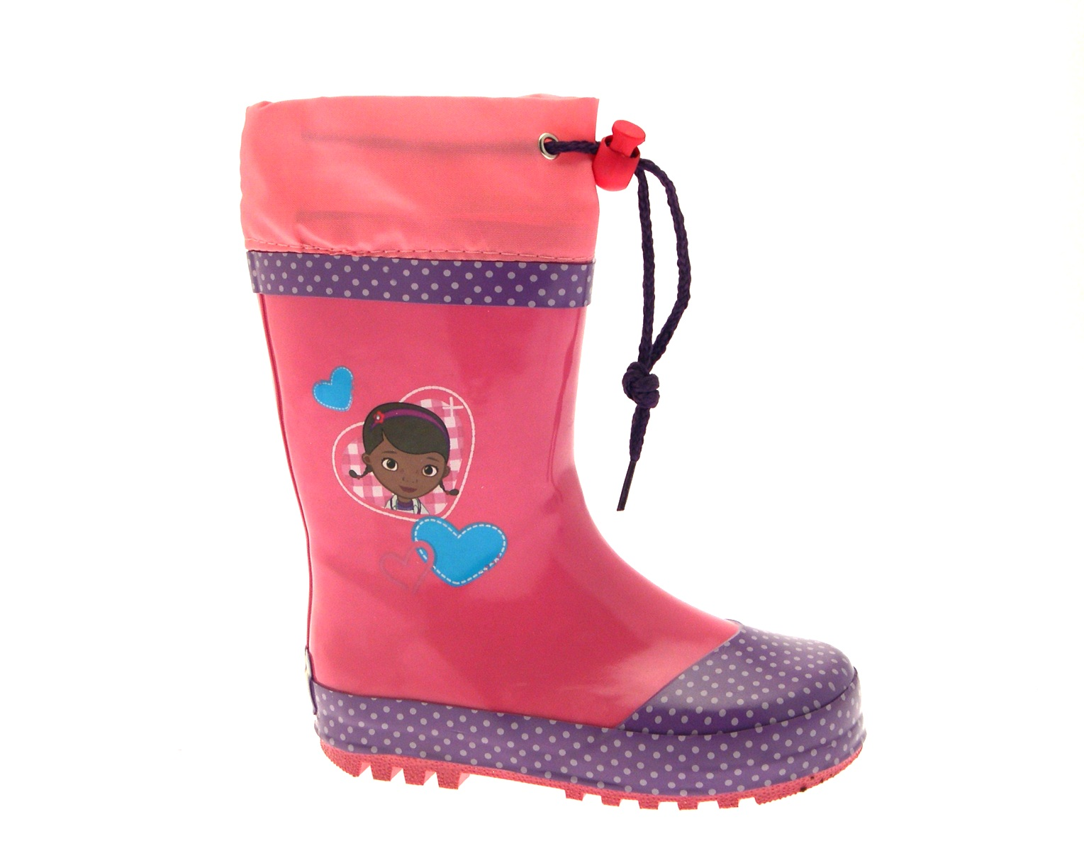 GIRLS DOC MCSTUFFINS PINK WELLIES WELLINGTON RAIN SNOW BOOTS UK SIZE 4-10