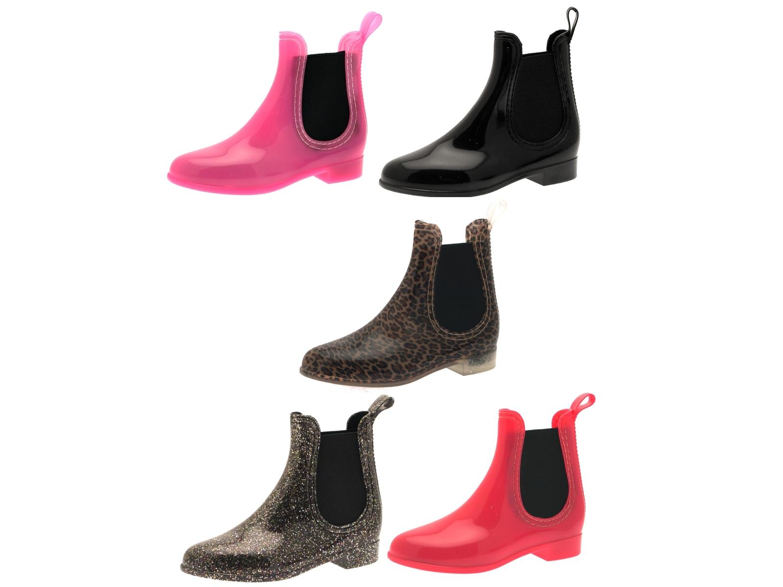 Kids Girls Chelsea Ankle Wellies Wellington Boots Gusset Snow Rain ...