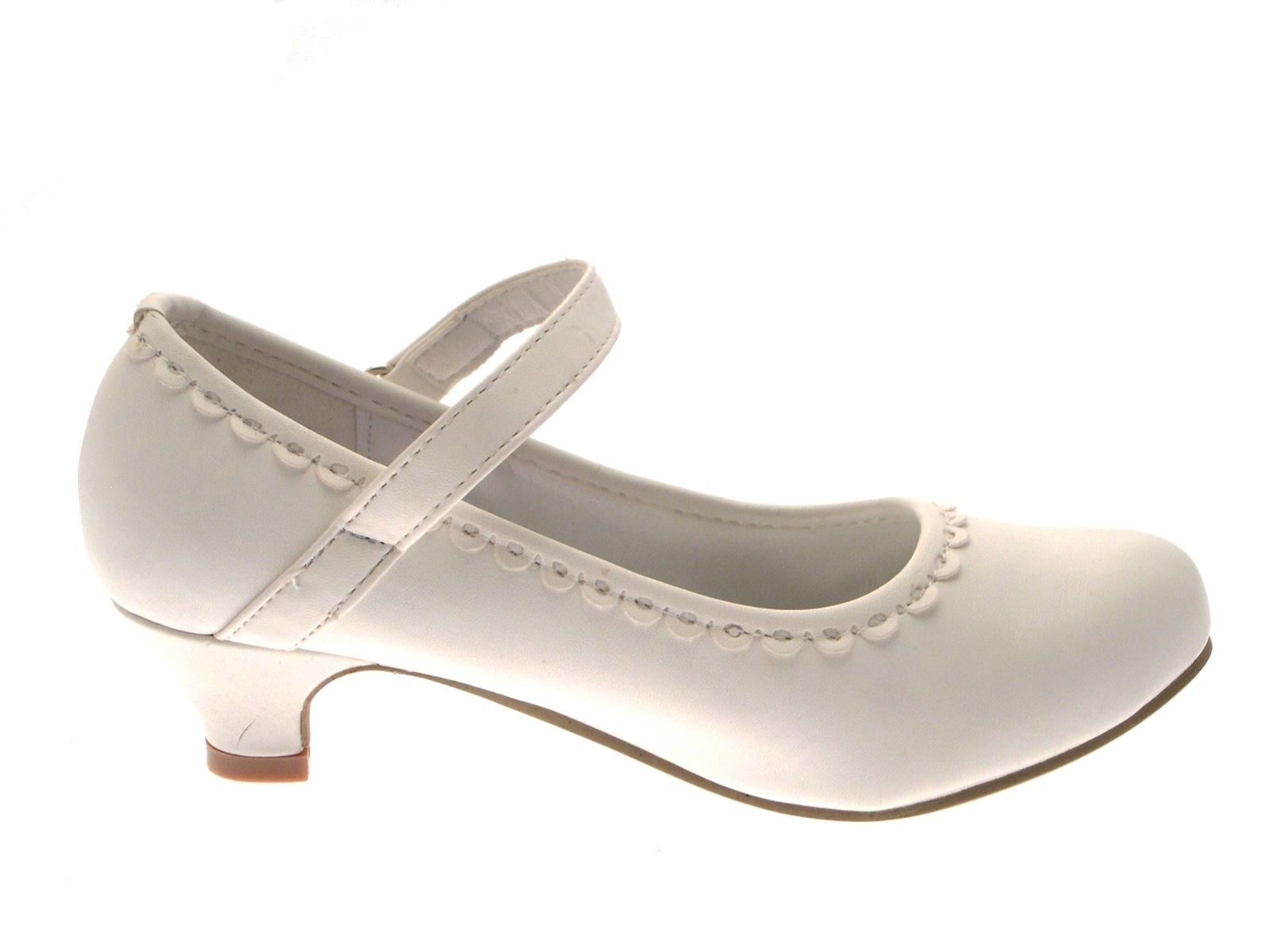 White Satin Kids Bar Shoes