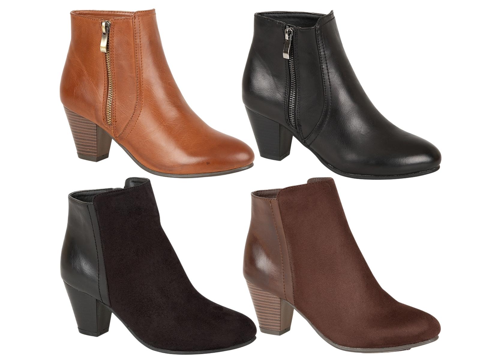 womens mid block cuban heels winter chelsea ankle