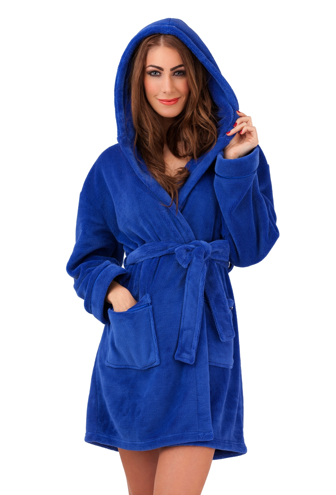 WOMENS HOODED SHORT BATH ROBE DRESSING GOWN HOUSECOAT WITH ...