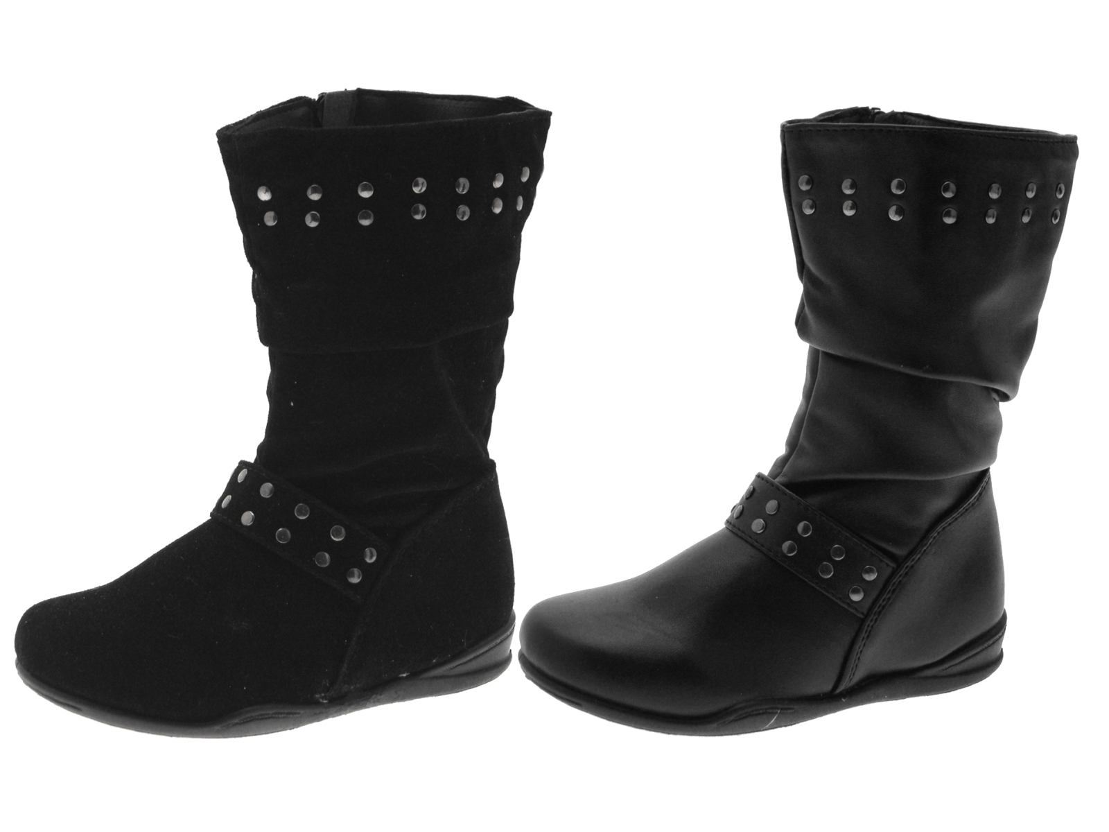 mid calf faux leather suede studded boots