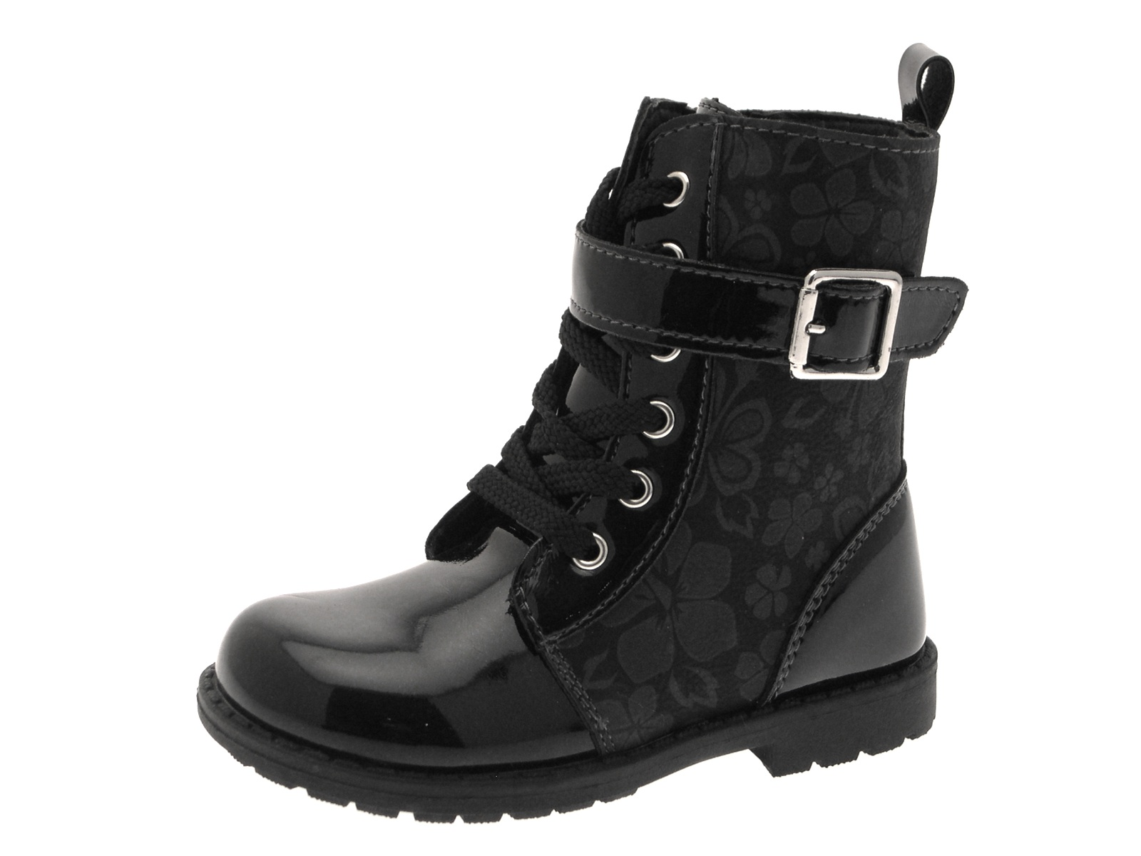 Kids Girls Lace Up Mid Ankle Boots Faux Patent Leather ...