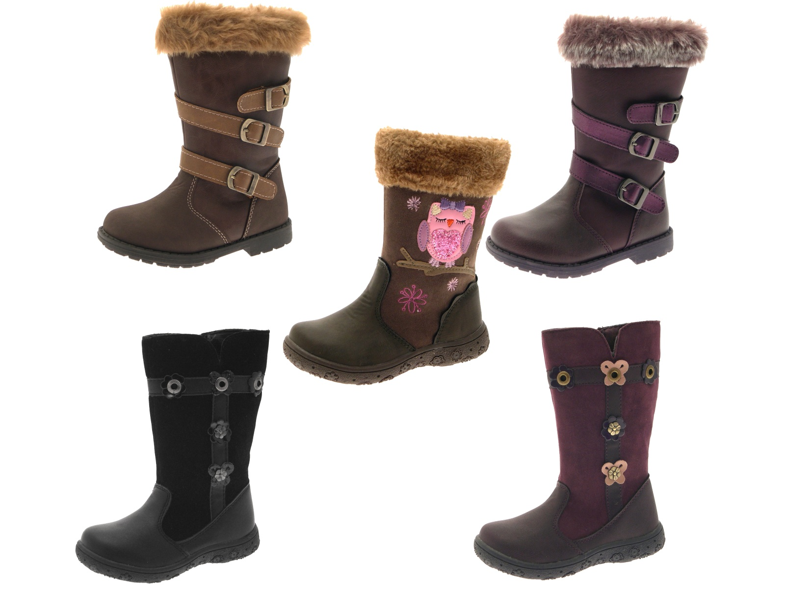 Kids Girls Faux Leather Fur Ankle Mid Calf Boots Flower Glitter ...