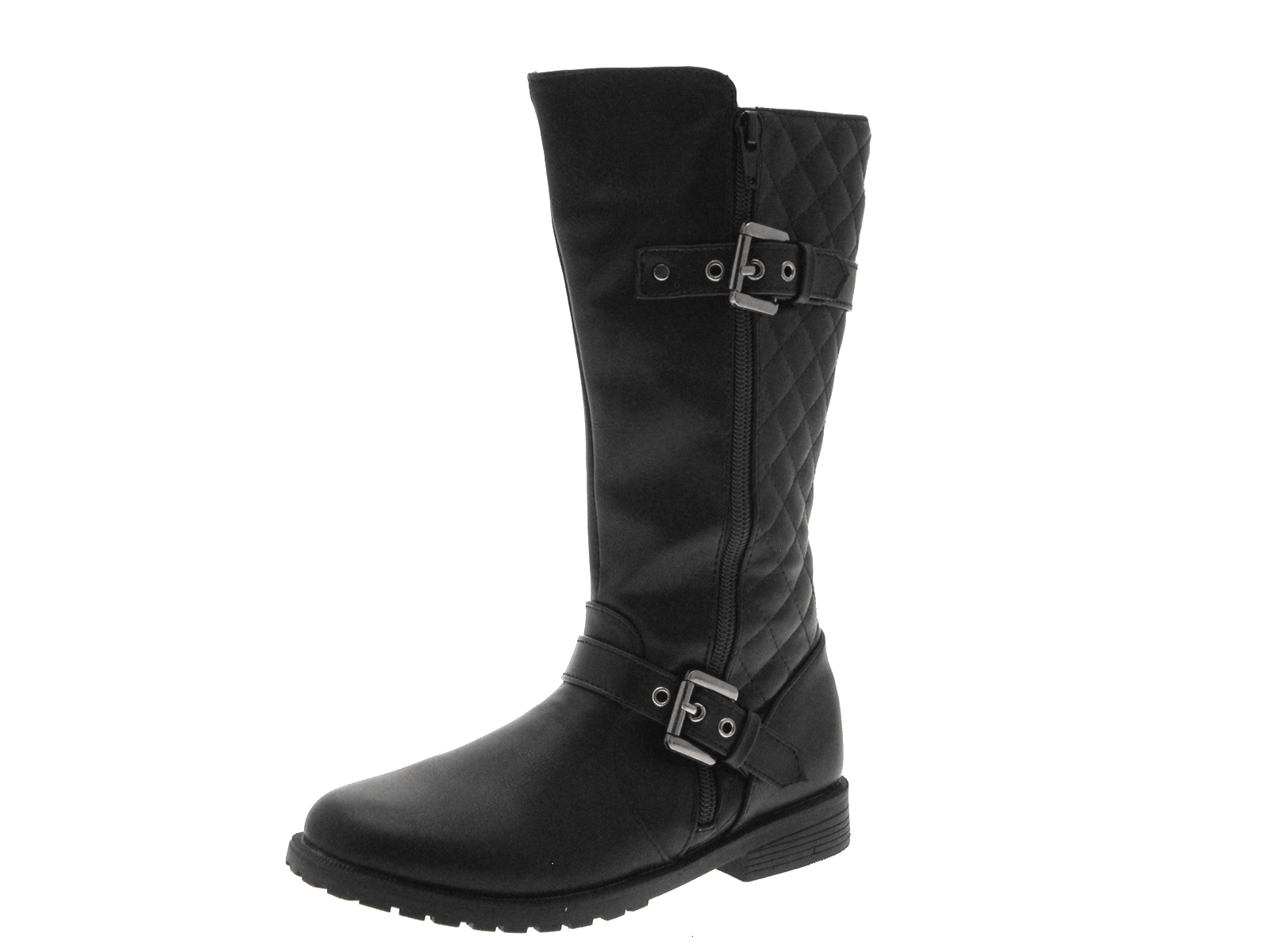 womens quilted knee high biker boots