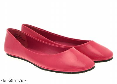 WOMENS PATENT FLAT BALLET PUMPS SHOES PINK LADIES 4/37
