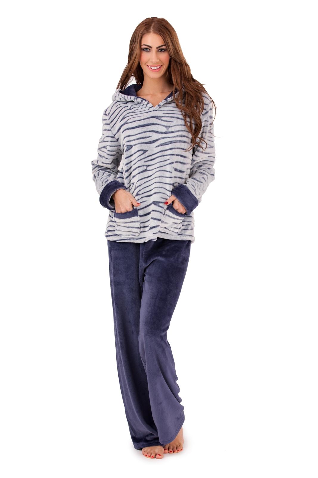 Womens Fleece Lounge Pants + Hooded Jumper Set Warm ...