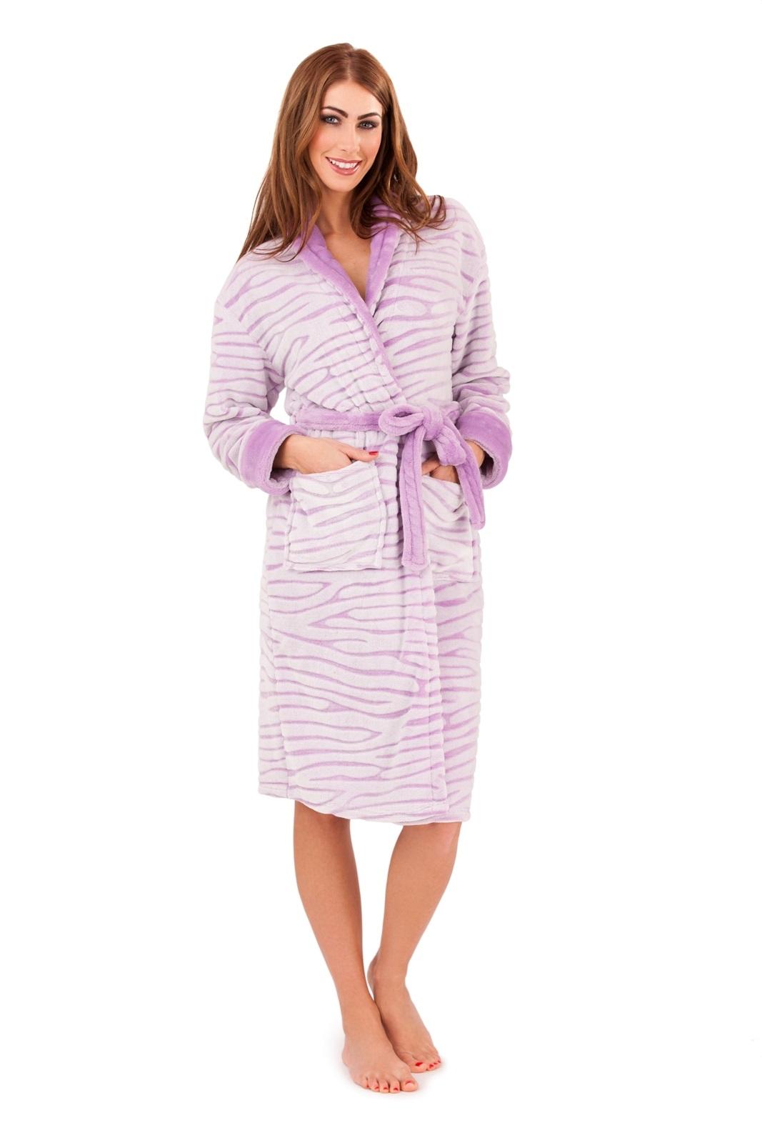 Womens Zebra Print Robe Long Dressing Gown + Belt Housecoat Ladies ...