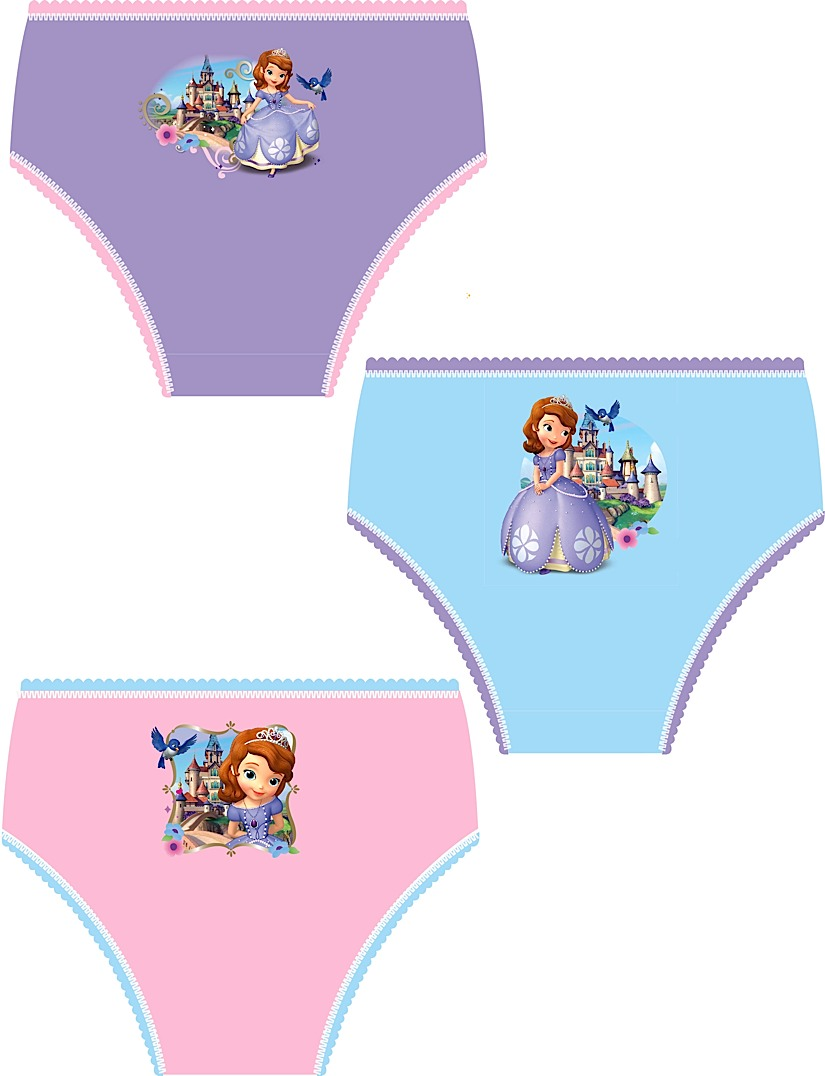 Disney Princess Sofia Knickers Briefs Girls Gift Set Of 3 Childrens Size 1-5 Y
