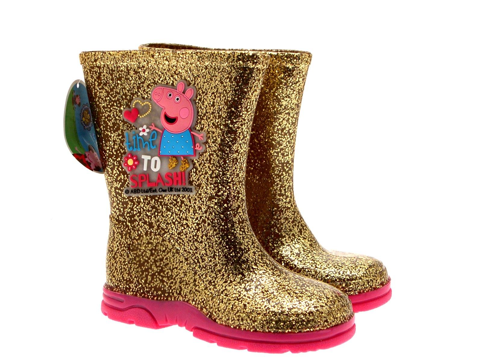 enfants filles peppa pig wellington bottes pluie neige or bottes chaussures taille 4 10 ebay. Black Bedroom Furniture Sets. Home Design Ideas