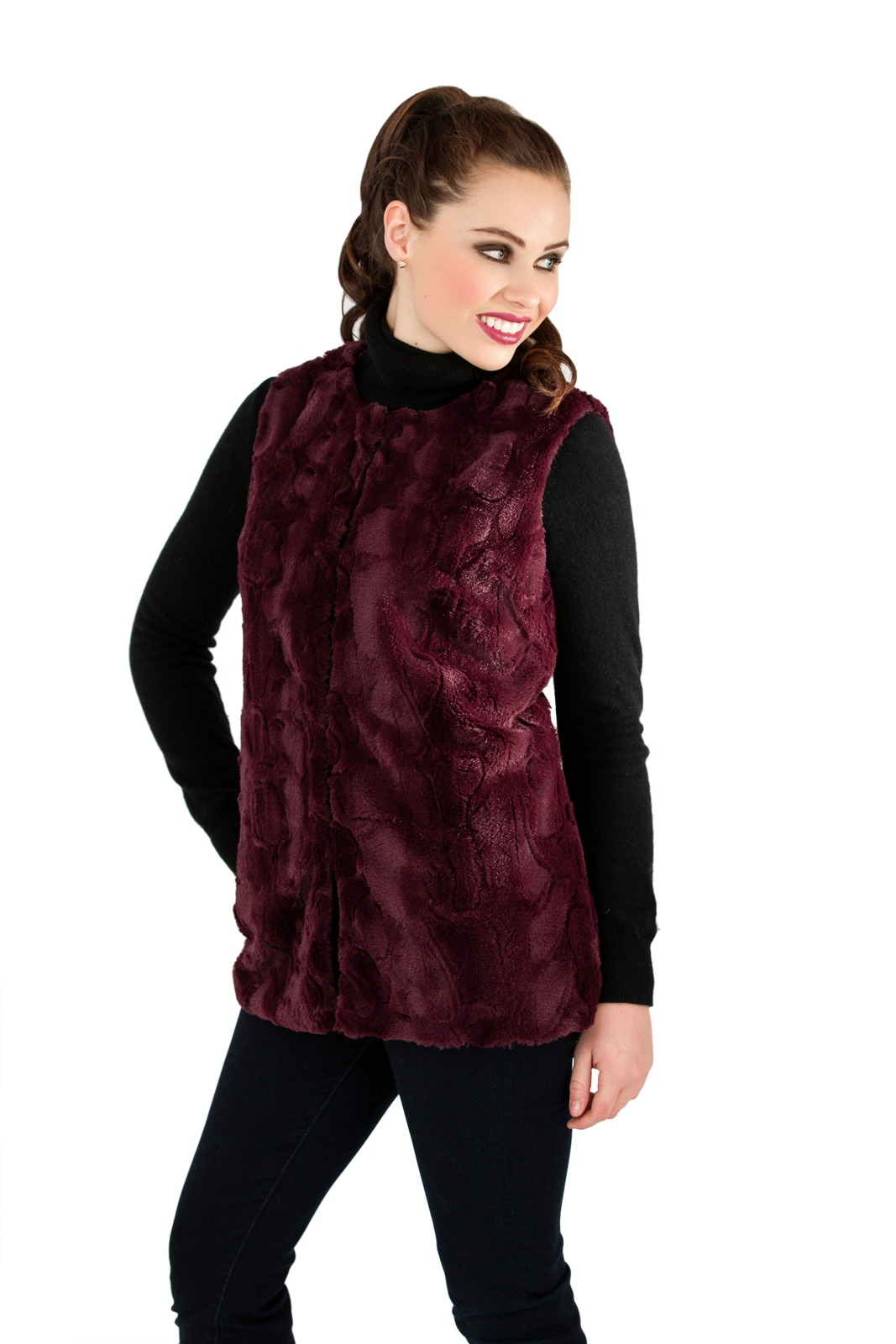 Knitting Pattern Ladies Gilet : Ladies Sleeveless Knitted Waistcoat - Bronze Cardigan