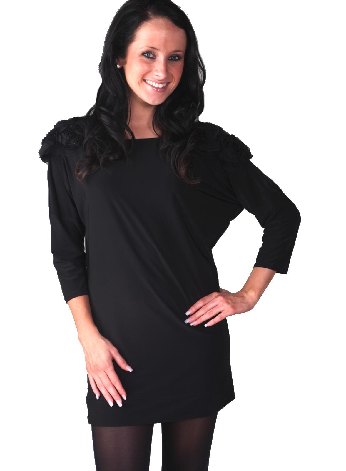 Womens Glitter Flower Shoulder Jumper Dress Party Tunic Top Long Sleeve Size