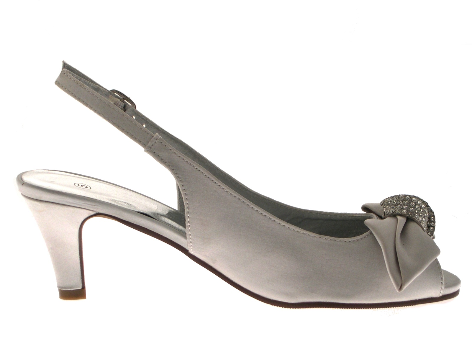 Womens Satin Diamante Low Heels Wider Bridal Comfort Wedding Shoes