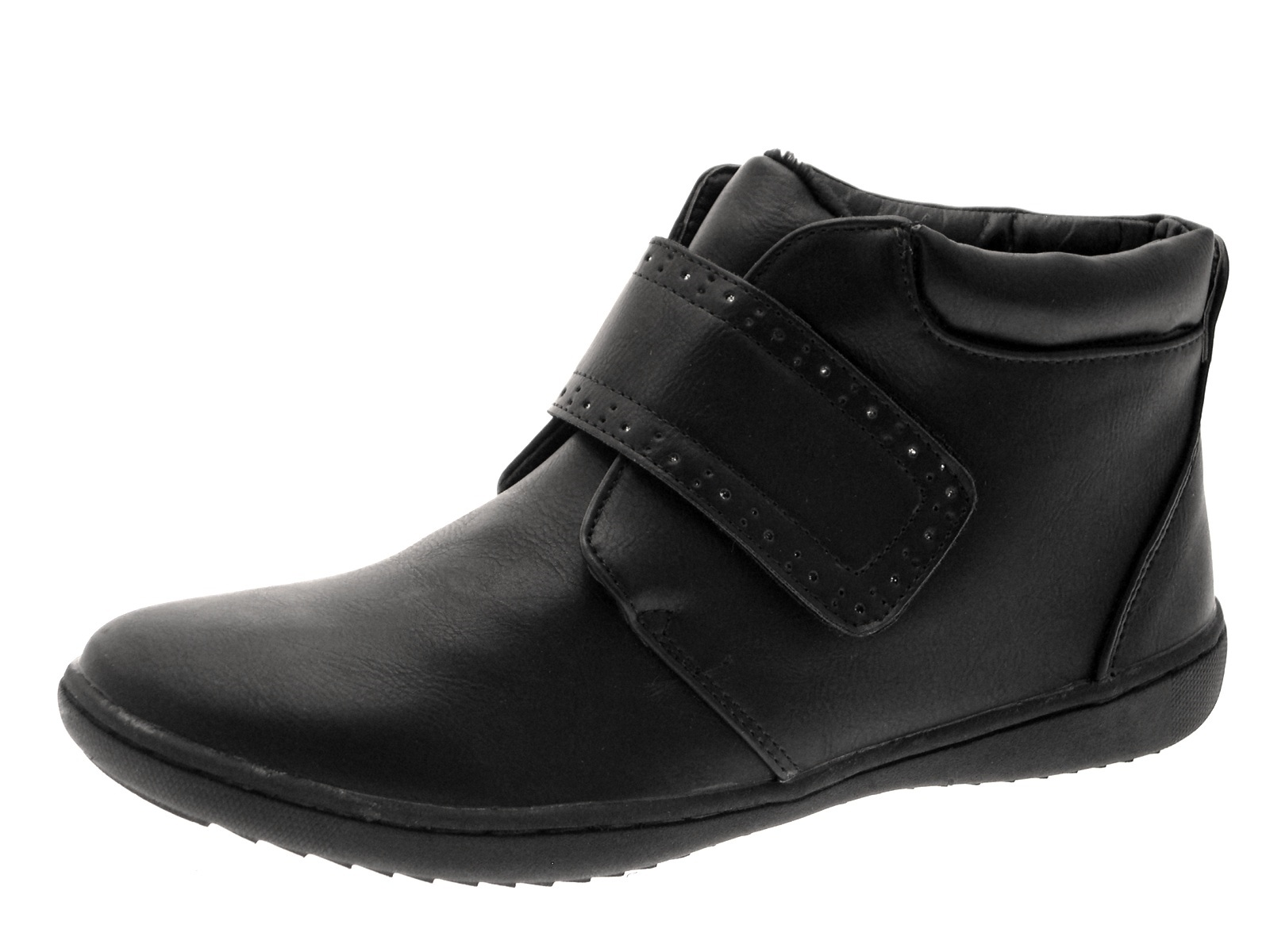 Womens Comfortable Flat Chelsea Gusset Faux Leather Ankle Boots ...