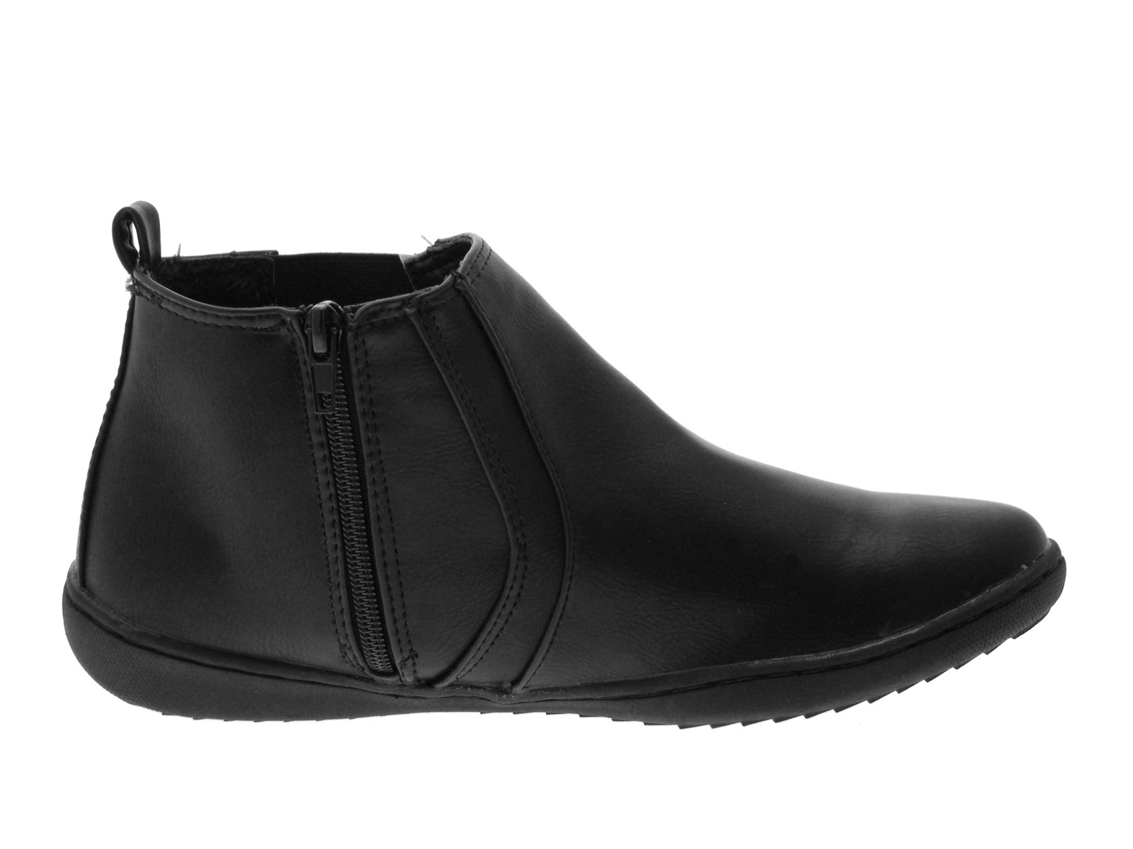 womens comfortable flat chelsea gusset faux leather ankle
