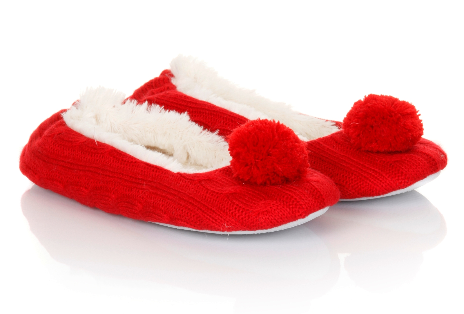 Womens Pom Pom Sherpa Fur Lined Slippers Ballet Pumps Ladies Booties Size UK 3-8