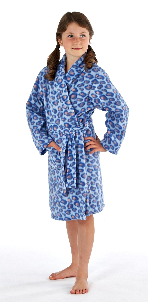 Kids Girls Fleece Bath Robe Dressing Gown Housecoat Childrens Xmas ...