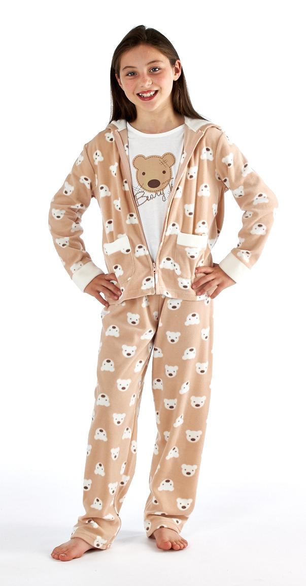 kids girls lounge pants top jacket set pyjamas pjs nightwear size 4 13 years ebay. Black Bedroom Furniture Sets. Home Design Ideas