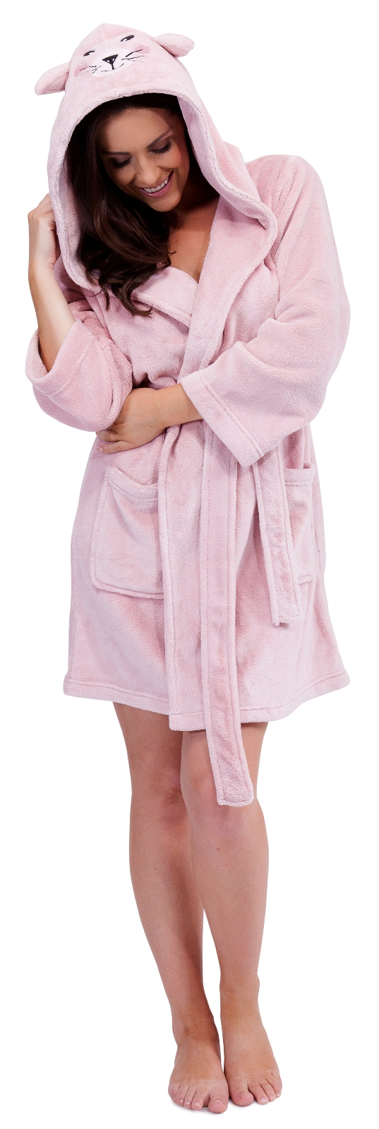 womens short hooded animal ears bath robes dressing gowns. Black Bedroom Furniture Sets. Home Design Ideas