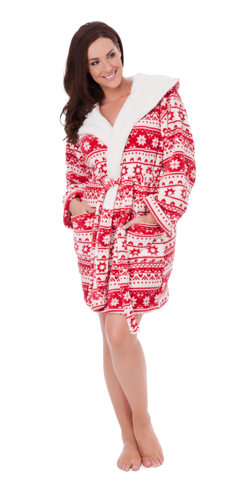 Womens Short Hooded Fairisle Bath Robe Fleece Lined Dressing Gown ...